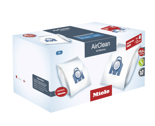 Miele Vacuum Bags GN AirClean 3D Efficiency FilterBags™ Type GN - 16 dustbags, HEPA filter, 4 pre-motor filters. S5000, S8000, S5, S8, Complete C2 & C3 Series
