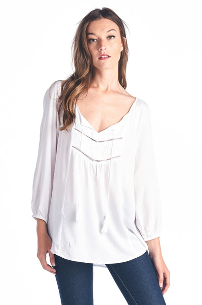 Women's Tassel Tie Loose Top - MFBO