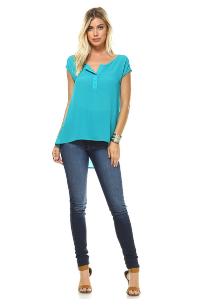 Women's Short Sleeve Button Up Hi-Low Top - MFBO