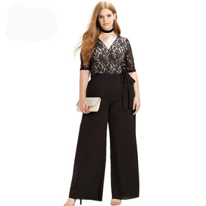 Women Plus Size Casual Black Wrap Lace Patchwork Jumpsuit - MFBO