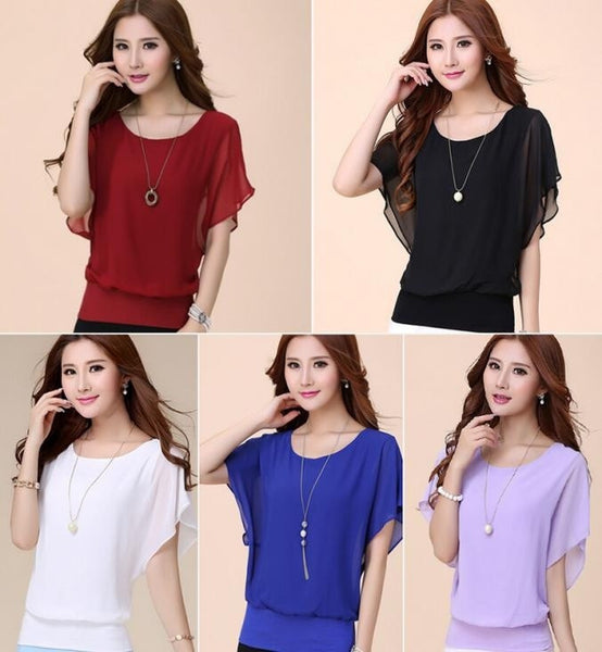 Women Top/Blouse Fashion Chiffon Plus Size - MFBO