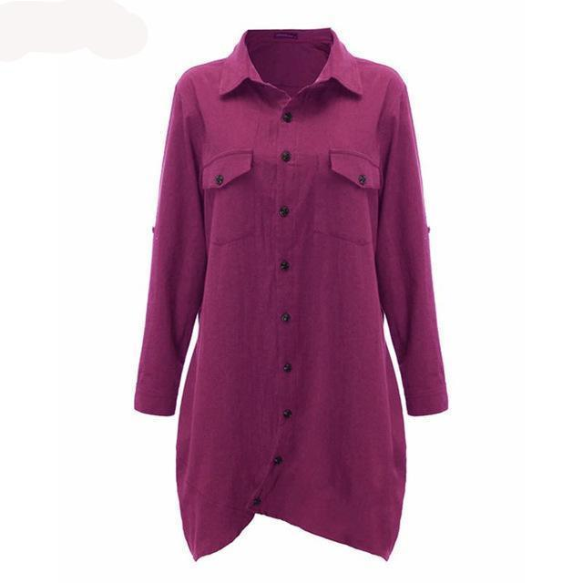 Women Autumn Vintage Lapel Cotton Long Shirt Casual Loose Full Sleeve - MFBO