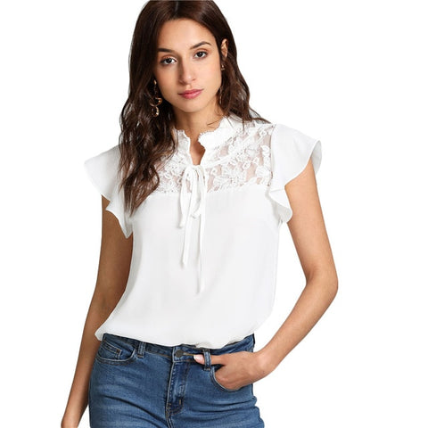 Women White Knot Floral Lace Blouse - MFBO