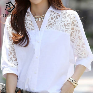 Women's White Fashion Blouse Casual Batwing Sleeves Spring or Summer Shirt Tops - MFBO