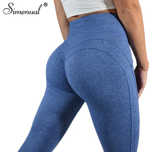 Simenual Ruching high waist heart leggings for fitness bodybuilding push up legging pants activewear sporty jeggings - MFBO