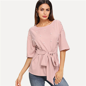 Elegant Pink Beaded Knot on Front and Half Sleeve Top /Blouse - MFBO