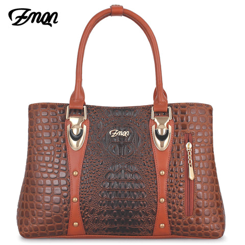 Women Leather Luxury Handbag Designer with Crocodile Pattern - MFBO