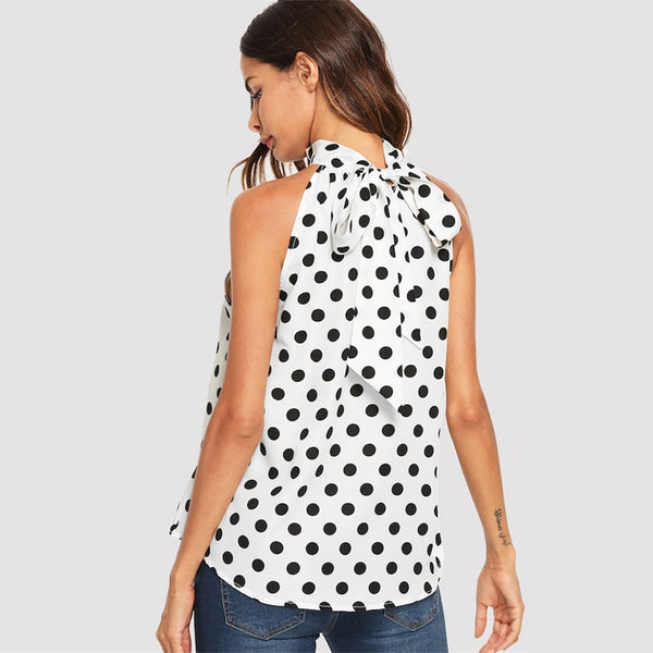 Women Elegant Black And White Polka Dot Print Bow Tie Back  Sleeveless Top Blouse - MFBO