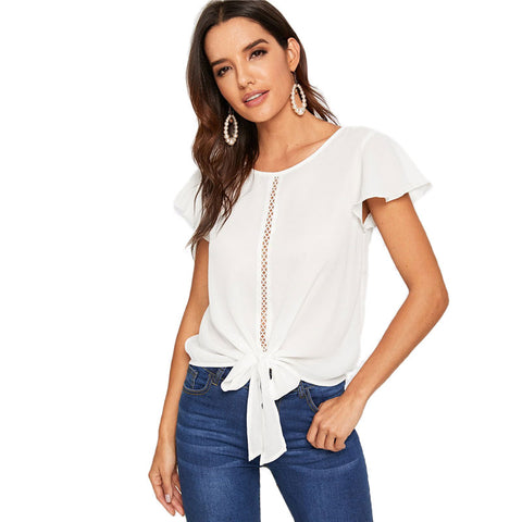 Casual Flutter Sleeve Lace Front Knot White Blouse Solid Hollow Out - MFBO