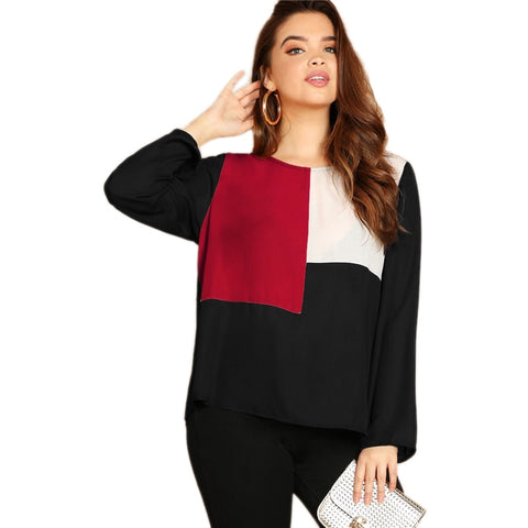 Women Multi-color Key hole Back Color-block Button Long Sleeve Top Blouse Plus Size - MFBO