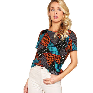 Geometric And Polka-Dot Print Women Tops - MFBO