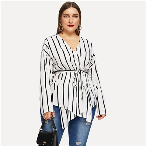 Women White Asymmetrical Plus Size V-neck Belted Striped Elegant Blouse Long Sleeve - MFBO