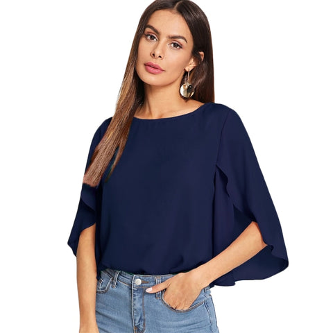 Women Casual Split Flounce Sleeve Solid Half Sleeve Chiffon Top Blouse - MFBO
