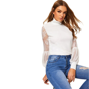 Elegant White High Neck Lace Blouse - MFBO