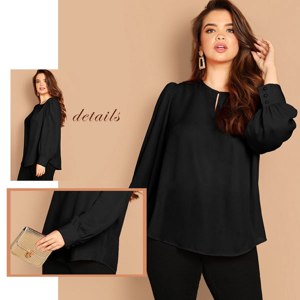 Plus Size Elegant Cut Out Curved Hem Black Blouse Top for Women - MFBO