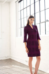 Plaid Bell Sleeve Knit Dress Color Vivid Viola/Black
