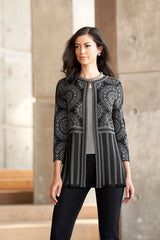 Plus Size Paisley Stripe Knit Jacket Color Mink/Black