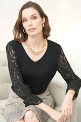 Lace Sleeve Knit V-Neck Tunic Color Black