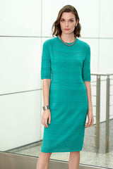 Multi-Texture Knit Sheath Dress Color Malachite