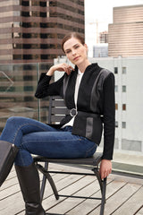 Faux Suede and Leather Knit Jacket Color Black