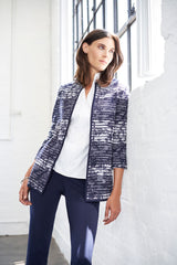 Marble Ottoman Knit Jacket Color Indigo/White