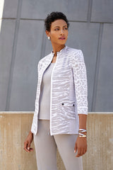 Animal Print Knit Jacket Color Sterling Grey/White