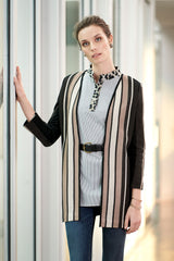 Stripe Knit Cardigan Jacket Color Black/Creme Brulee/Java