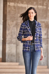 Fringe Trim Plaid Knit Blazer Color Majestic Blue/Twig/Black