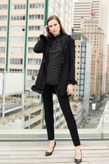 Fur Trim Knit Jacket Color Black