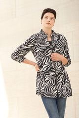 Ruched Neck Tiger Print Woven Jacket Color Black/White