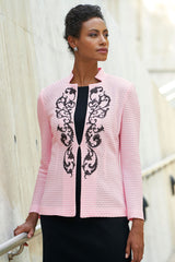 Filigree Embroidered Knit Jacket Color Ballet Pink/Black