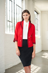 Contrast Trim Textured Knit Blazer, Dusk Red Color Dusk Red/Black