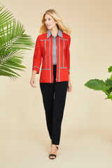 Gingham Trim Jacket Color Poppy Red/Black/White