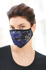 Botanical Jacquard Washable Face Mask in Black/Majestic Blue/Twig