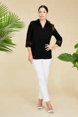 Cotton Trimmed Sleeve Tunic