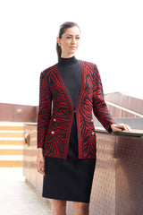 Tiger Swirl Knit Jacket Color Firecracker/Black