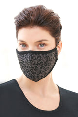 Leopard Print Knit Washable Face Mask in Granite/Black