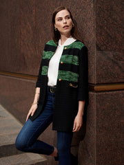 Tweed Stripe Accent Jacket Color Black/Forest Green/Limestone Green