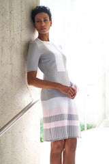 Colorblock Knit Dress Color Sterling Grey/Ballet Pink/White