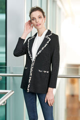 Tonal Animal Knit and Trim Jacket Color Black/Creme Brulee/Java