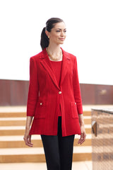 Tonal Stripe Knit Blazer Color Firecracker