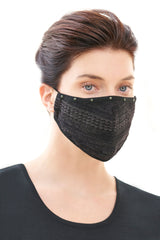 Studded Sparkle Knit Washable Face Mask in Black