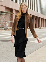 Faux Suede Knit Jacket Color Cognac Brown