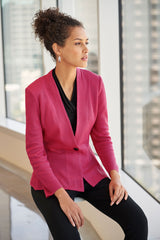 Modern Peplum Knit Jacket Color Bright Rose