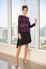 Graphic Plaid Peplum Knit Jacket Color Black/Vivid Viola