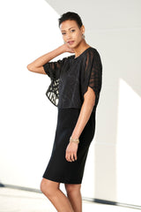 Plus Size Crepe Popover Dress Color Black
