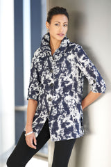 Plus Size Splatter Print Cotton Jacket Color Black/Blue Smoke/White