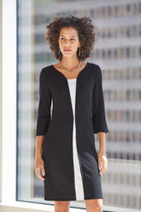 Contrast Inset Knit Dress Color Black/White