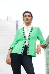 Floral Print Whipstitch Knit Jacket Color Springview Green/Black