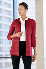 Tonal Stripe Knit Jacket Color Roselle Pink/Black